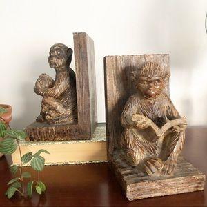 Faux Wood Monkey Bookend Set Eclectic Decor